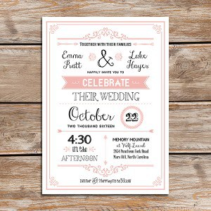 Blush Pink DIY Rustic Wedding Invitation Template with Border - Sample Filled Out