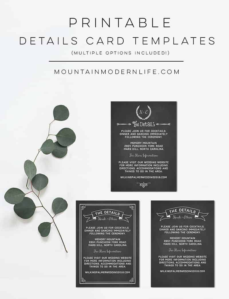 Chalkboard Printable Details Card Templates | MountainModernLife.com