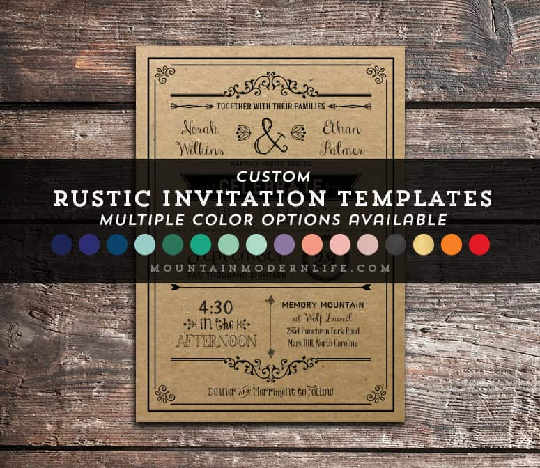 Rustic Wedding Invitation Templates: Whimsical Rustic DIY Wedding Invitation Set