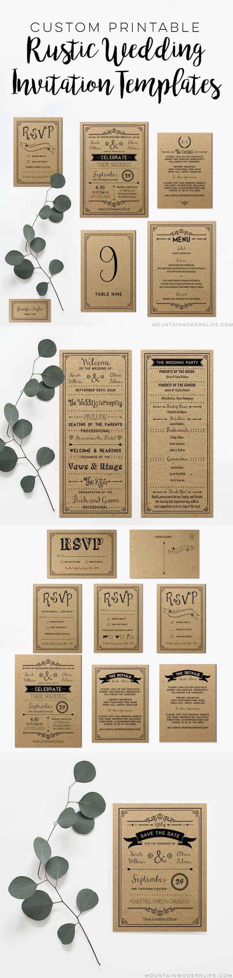 Custom Printable Wedding Invitation Templates | MountainModernLife.com