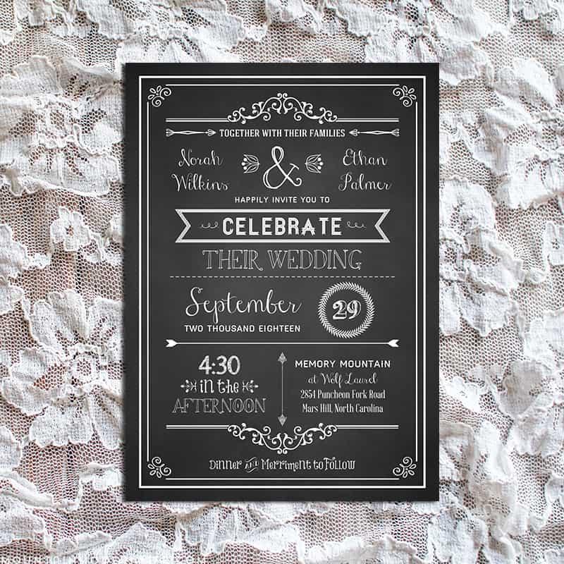 Diy Wedding Invitations Templates: Vintage Rustic DIY Wedding Invitation Template