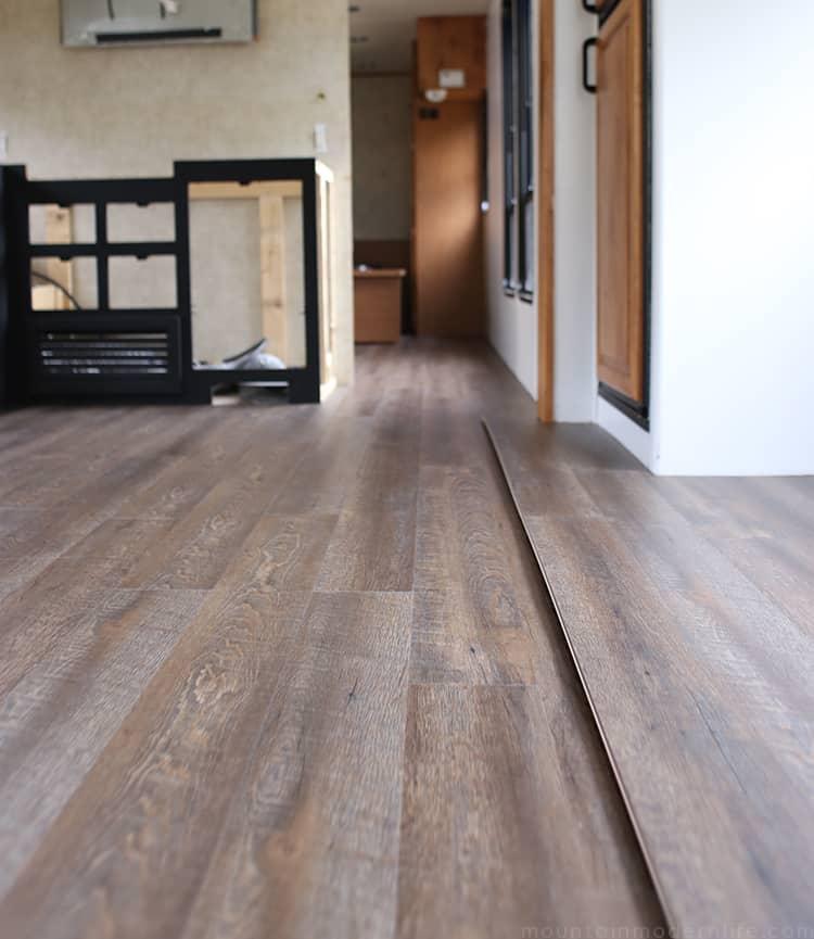 Handscraped Ashen Oak Nucore Flooring Installed Inside