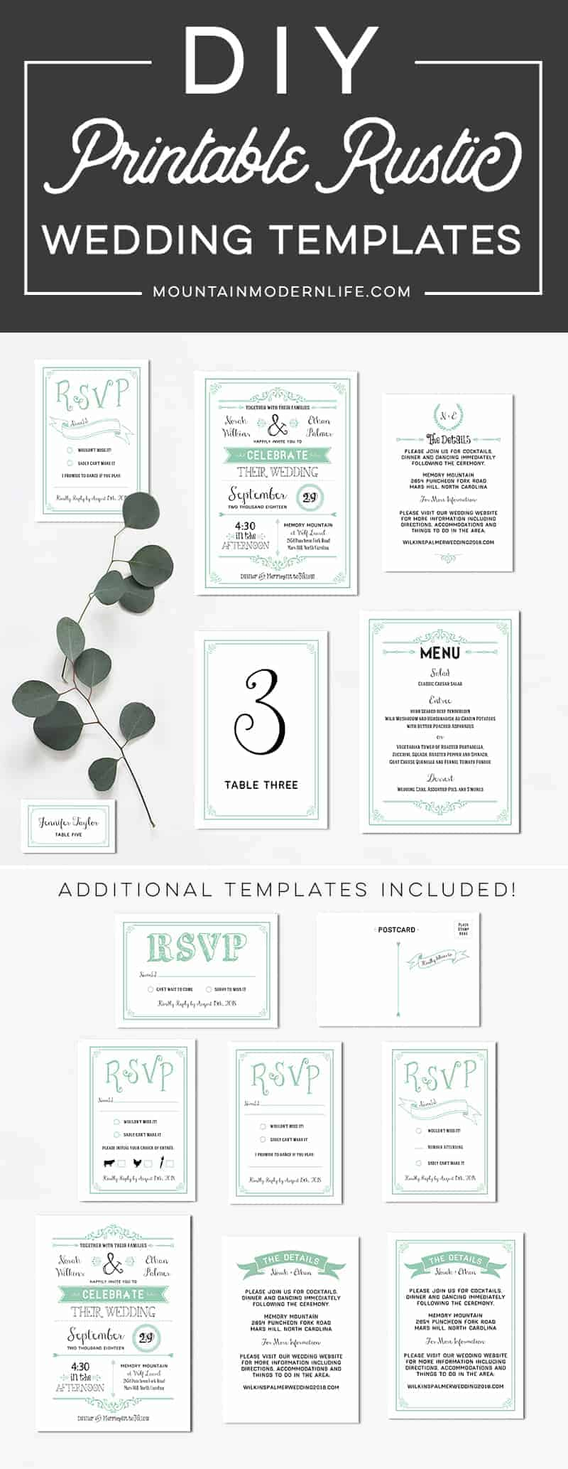 Mint DIY Wedding Invitation Set