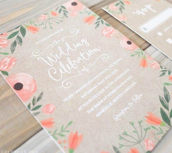 Printable Floral DIY Wedding Invitation