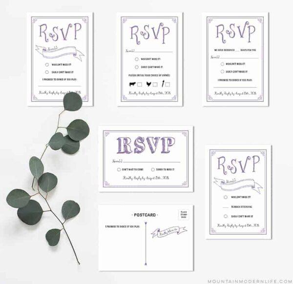 Printable Lavender DIY Wedding RSVP Cards | MountainModernLife.com
