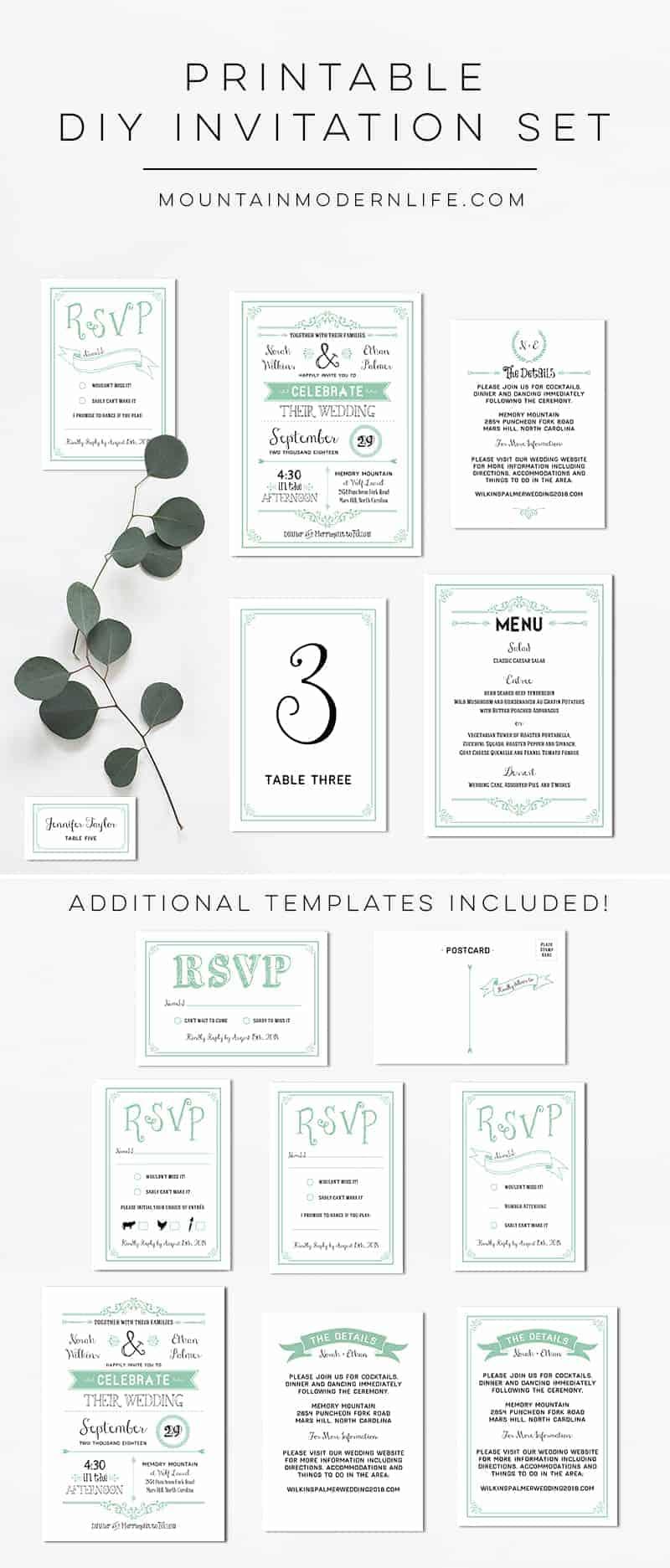 Printable Mint DIY Wedding Invitation Set | MountainModernLife.com