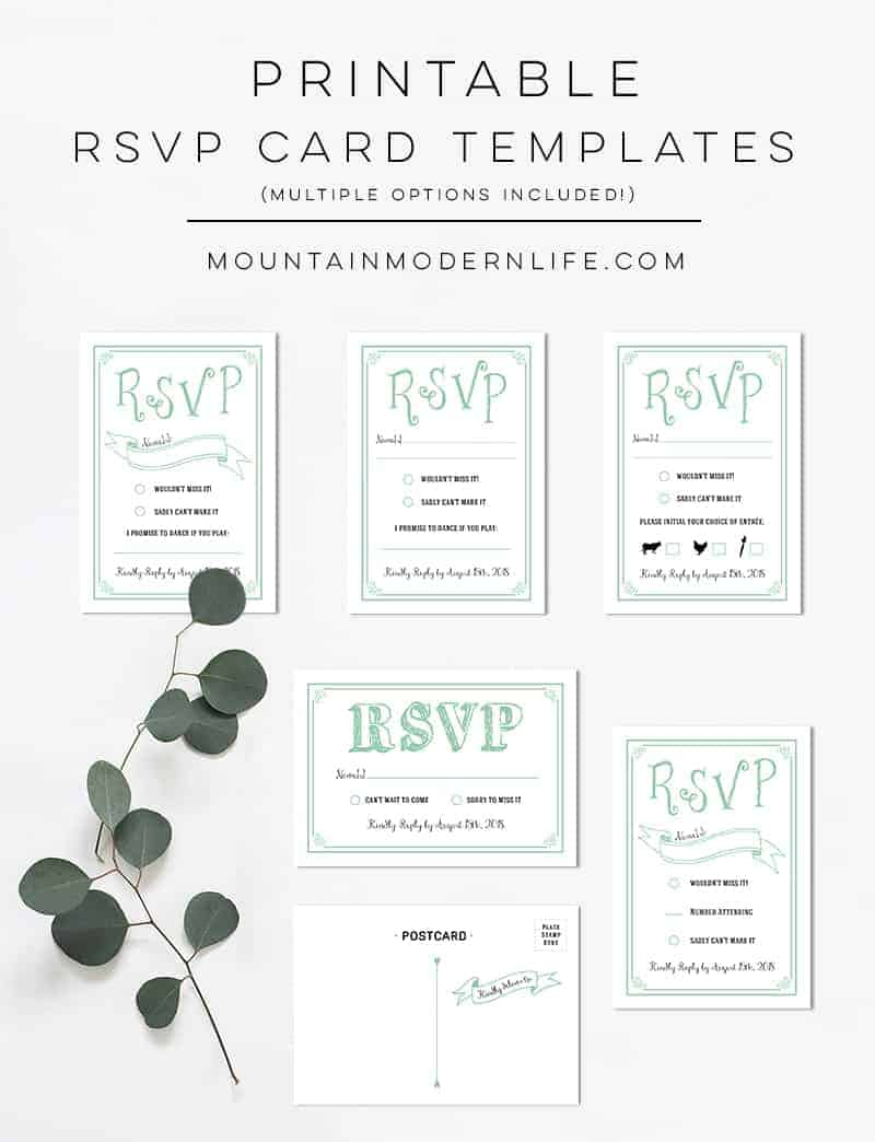 free rsvp template - mint rustic diy rsvp card