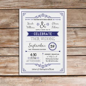 Navy Vintage Inspired Wedding Invitation Template with Border | MountainModernLife.com