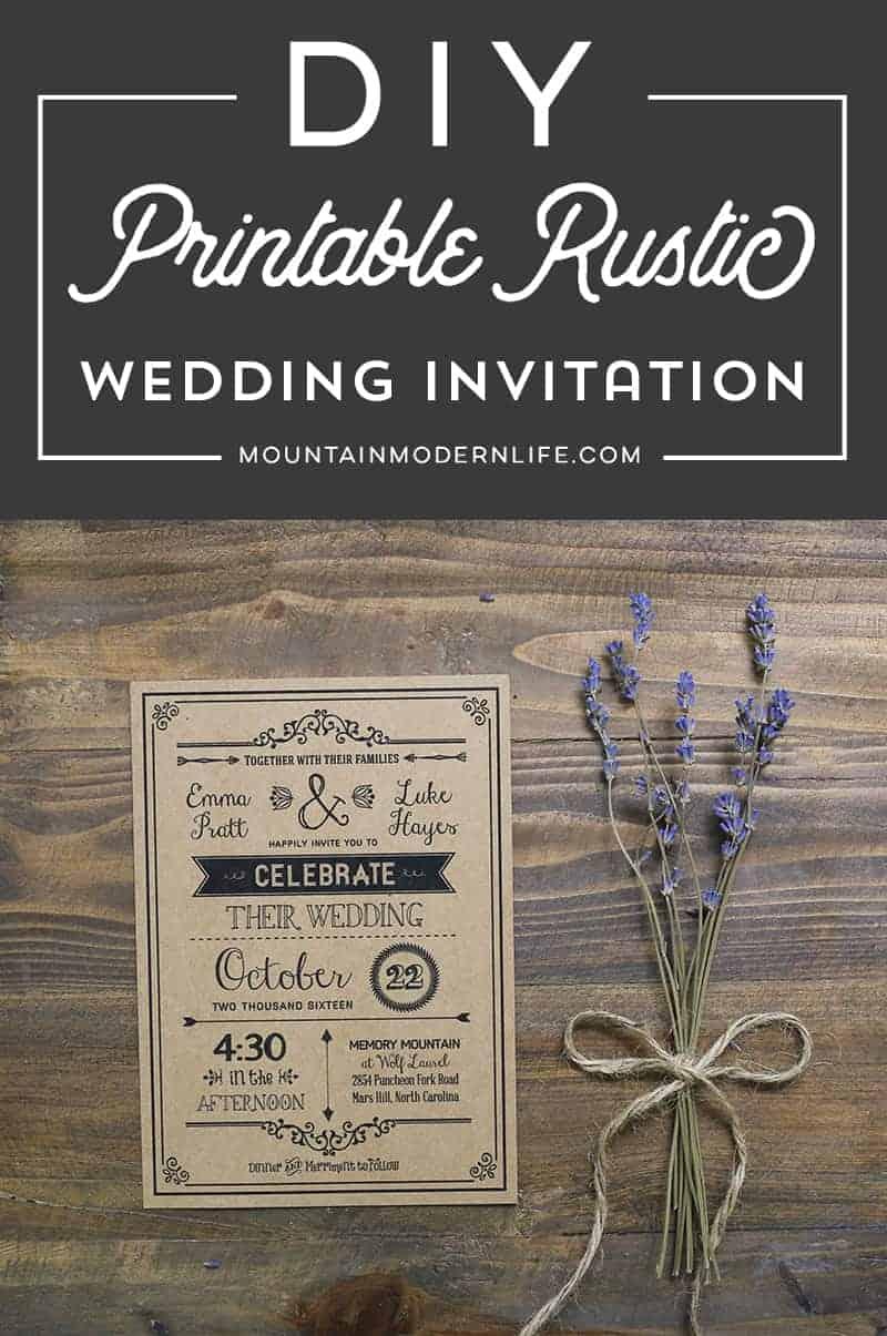 Black Rustic DIY Wedding Invitation