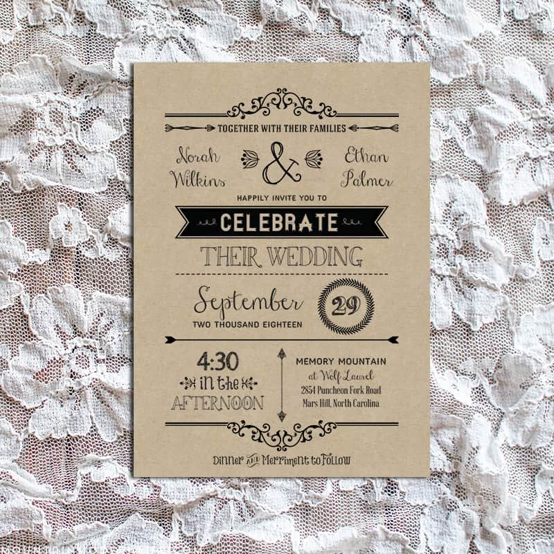 vintage rustic diy wedding invitation template. Black Bedroom Furniture Sets. Home Design Ideas