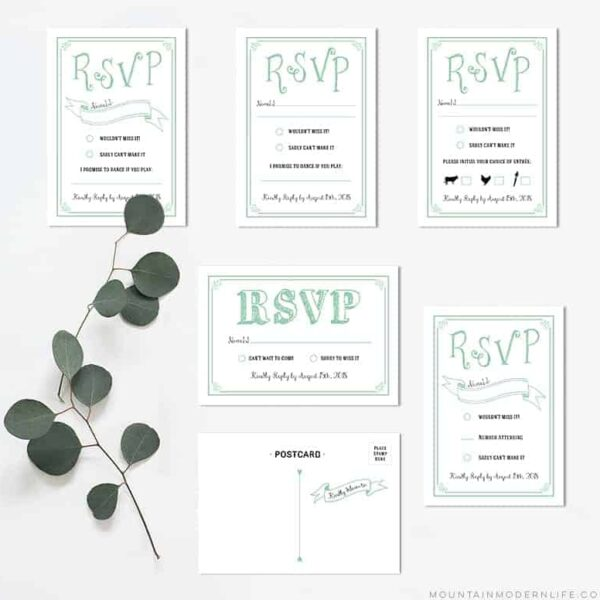 Printable Mint DIY Wedding RSVP Cards | MountainModernLife.com