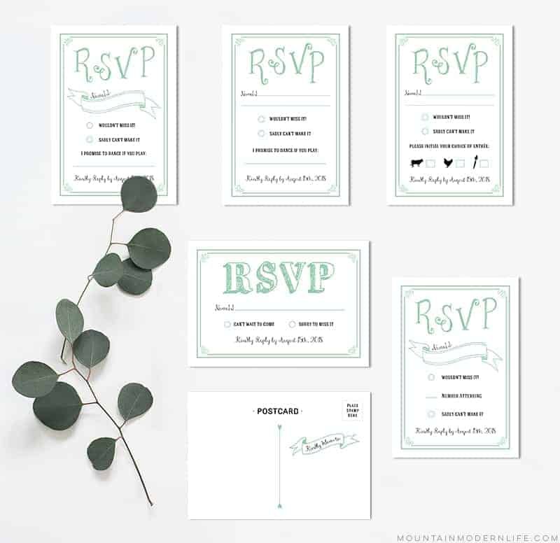 image relating to Printable Rsvp Card named Mint Rustic Do it yourself RSVP Card