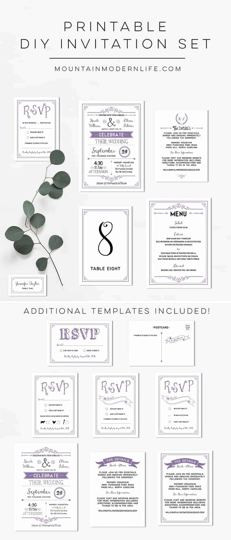 Printable Lavender DIY Wedding Invitation Set | MountainModernLife.com