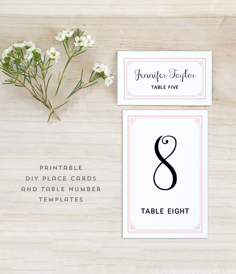 Diy table numbers and place cards archives mountain for Table place cards