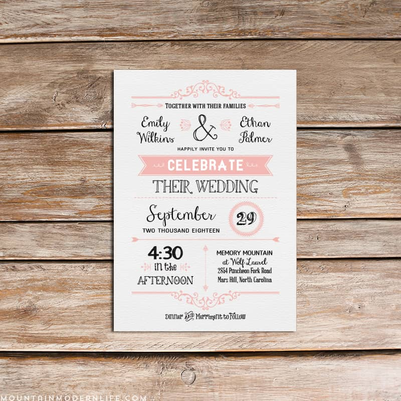 Vintage Rustic DIY Wedding Invitation Template