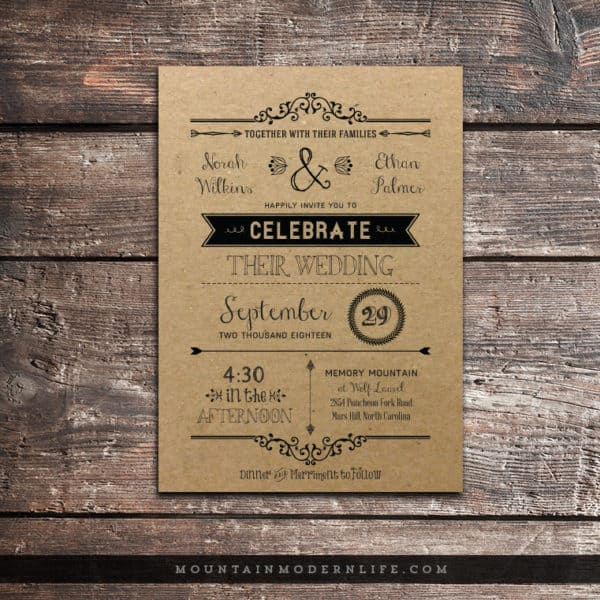 Printable DIY Invitation - Printed on Kraft Paper