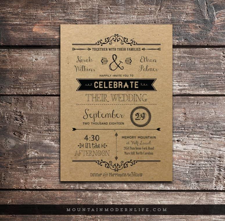 Paper For Diy Wedding Invitations: Vintage Rustic DIY Wedding Invitation Template