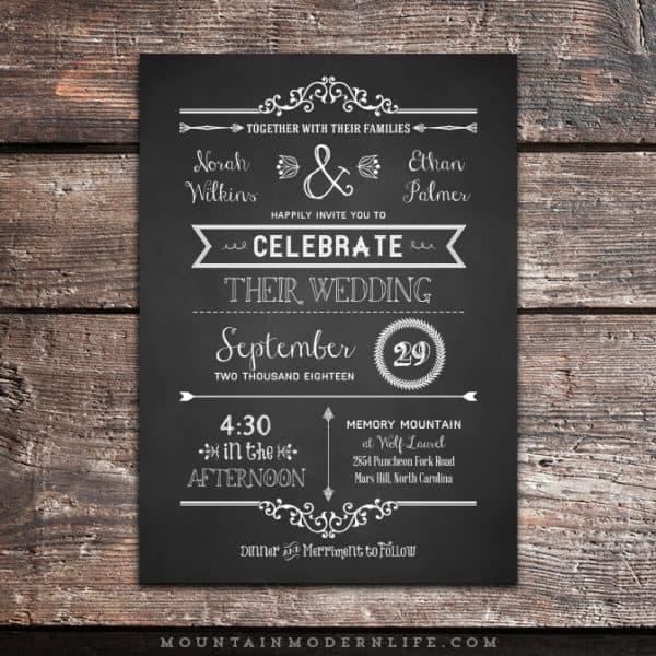 rustic-dy-chalkboard-wedding-invitation-no-border-mountainmodenrlife-com