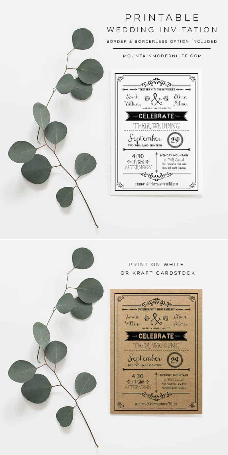 Printable DIY Wedding Invitation   MountainModernLife.com