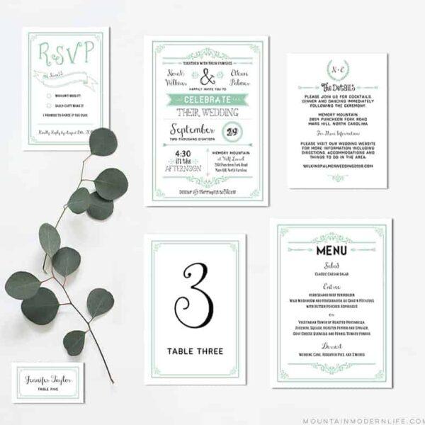 rustic-printable-wedding-invitation-set-mint-mountainmodernlife.com