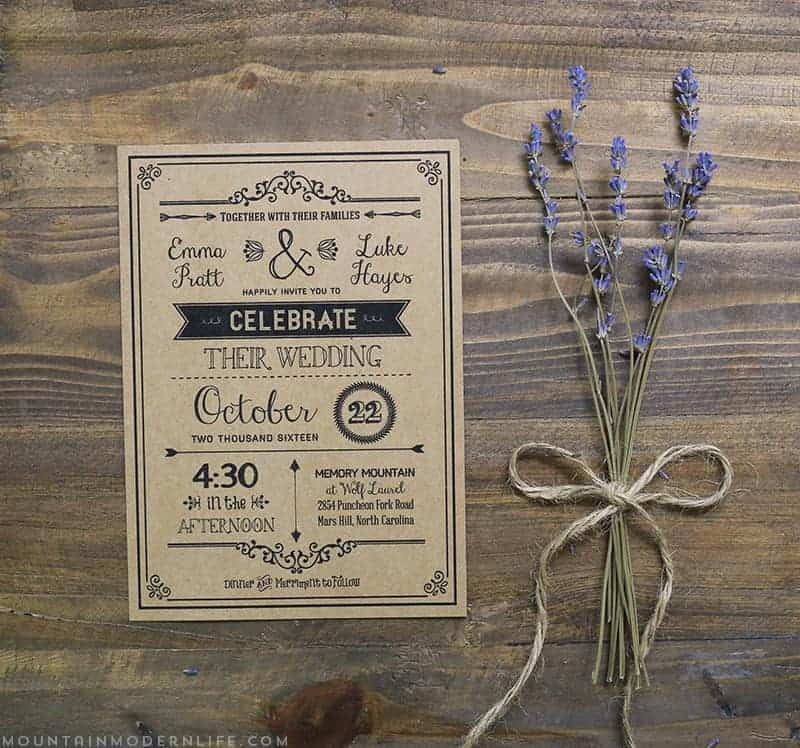 Black Rustic Diy Wedding Invitation
