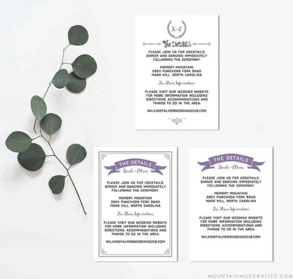 Printable Wedding Details Cards | MountainModernLife.com
