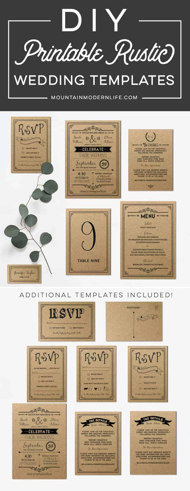 Printable DIY Wedding Invitation Set   MountainModernLife.com