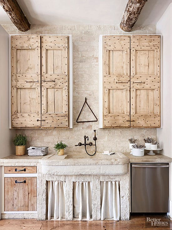 Farmhouse Style wall mounted Faucet in neutral, rustic kitchen + other Black Kitchen Faucet Designs