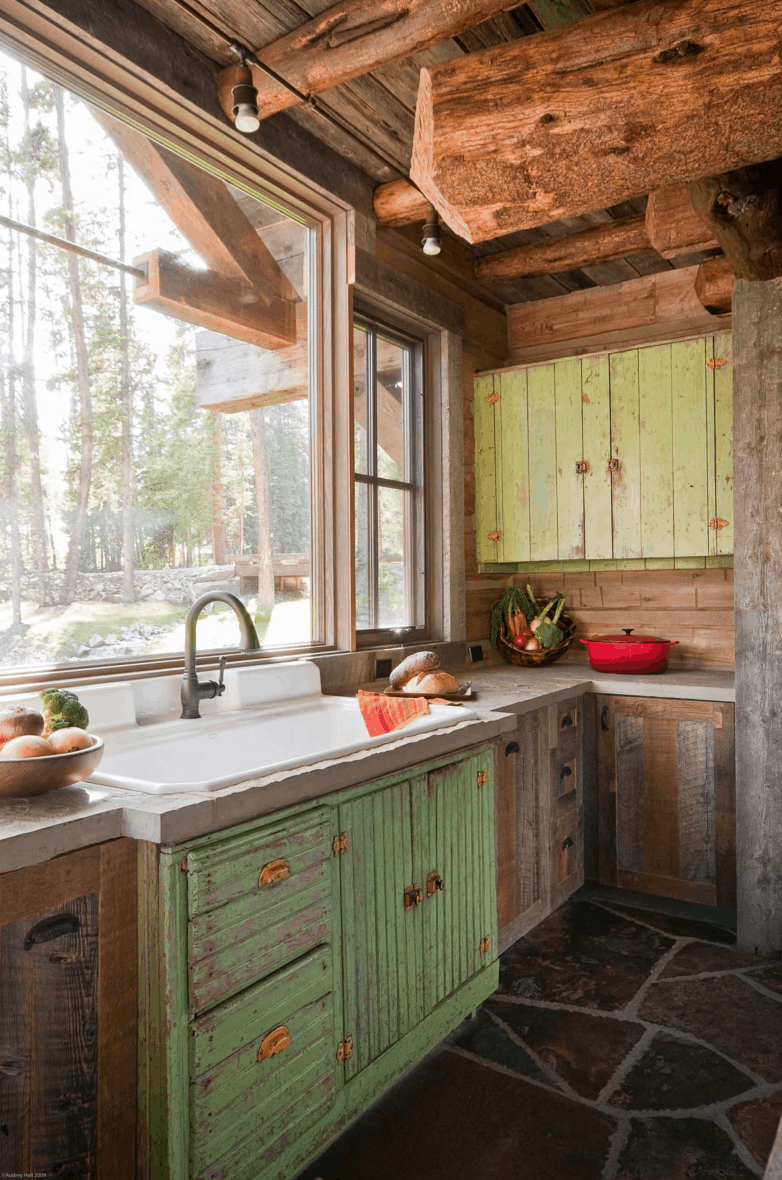Fixer upper kitchen faucet - Rustic Montana Cabin By Dan Joseph Architects Photo By Audrey Hall