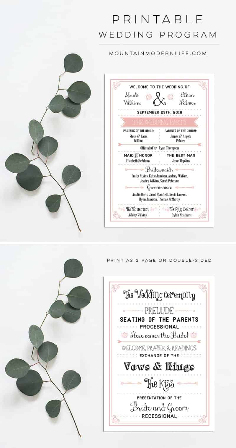 picture regarding Printable Wedding Programs named Blush Purple Rustic Do-it-yourself Wedding day Software package