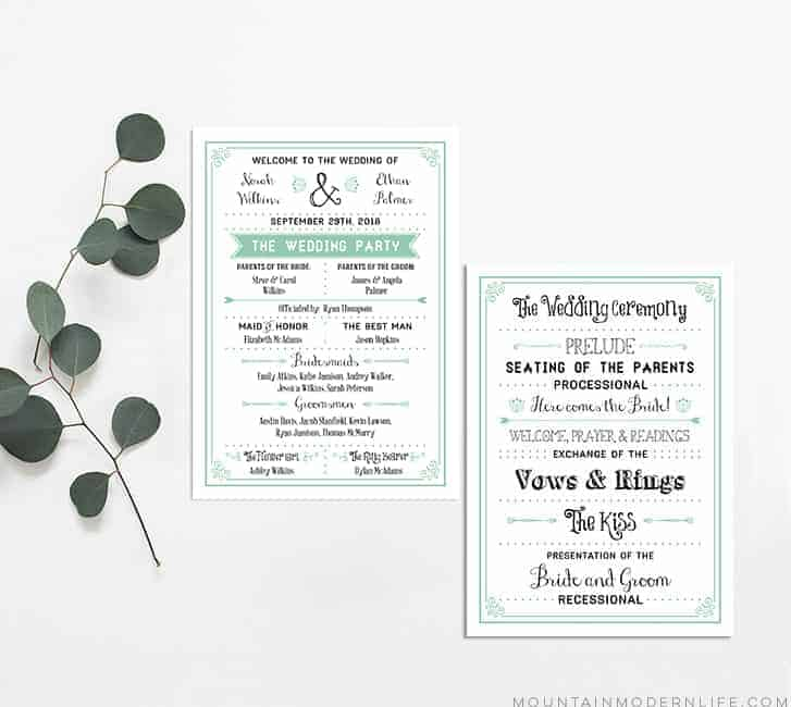 Mint Vintage Rustic Diy Wedding Program