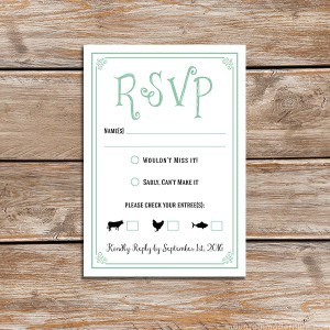 Mint Vintage Rustic DIY RSVP Card