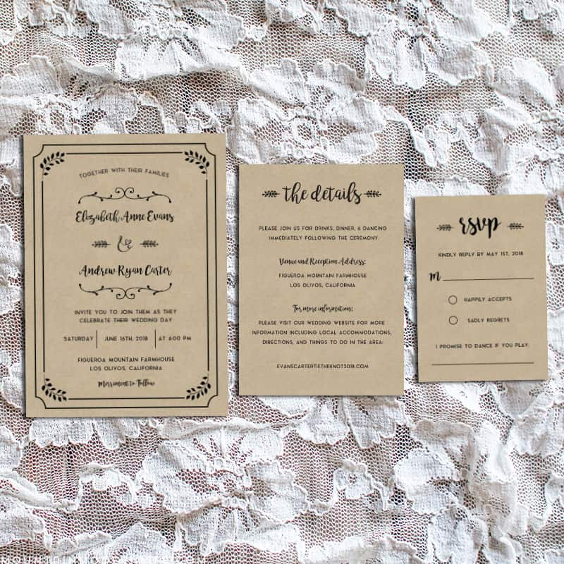 Whimsical Rustic Printable Wedding Invitation Set | MountainModernLife.com