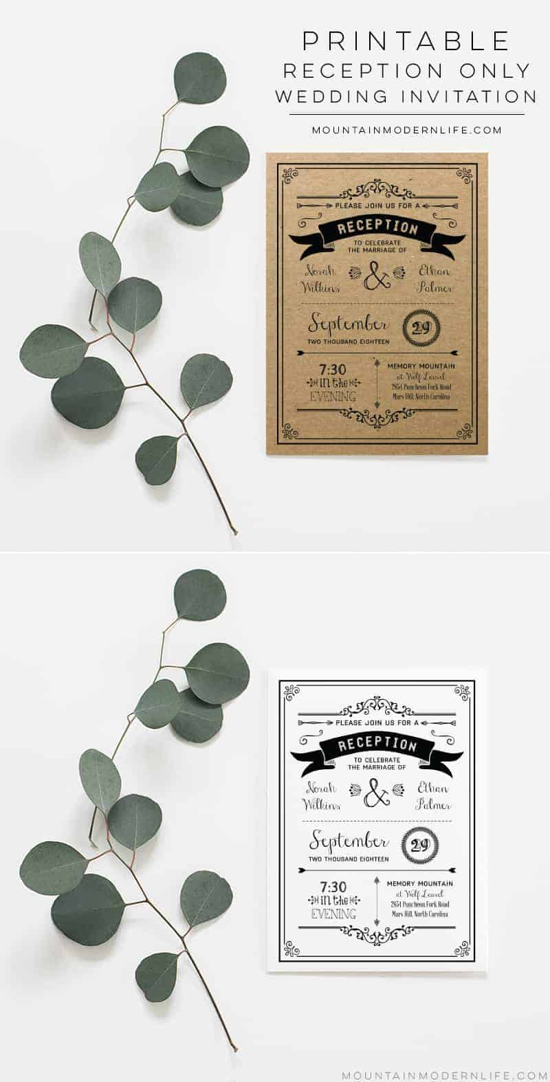 Save money by customizing this Rustic DIY Reception Only Invitation template and then print as many copies as you need! MountainModernLife.com
