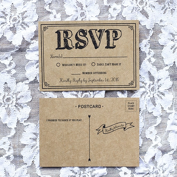 Wedding Invitation Postcard: Black Rustic Vintage DIY Wedding Invitation Set