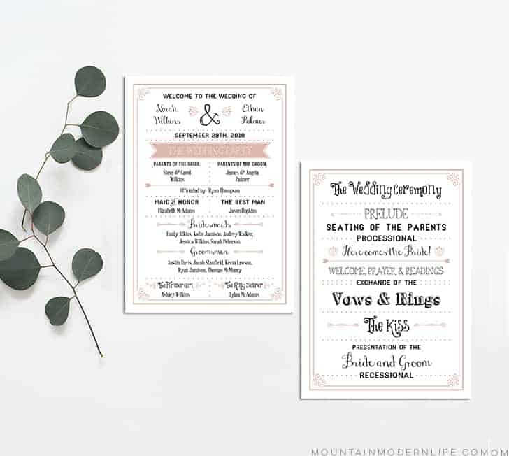 photo regarding Printable Wedding Programs known as Dusty Rose Rustic Do it yourself Marriage Application