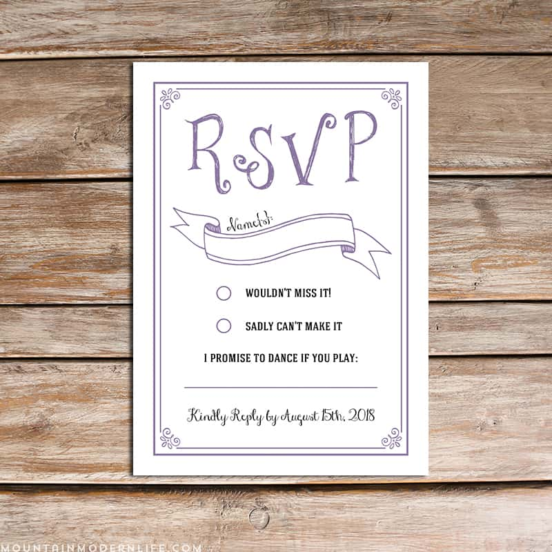 Vintage rustic diy rsvp card mountainmodernlifecom for Wedding rsvp templates