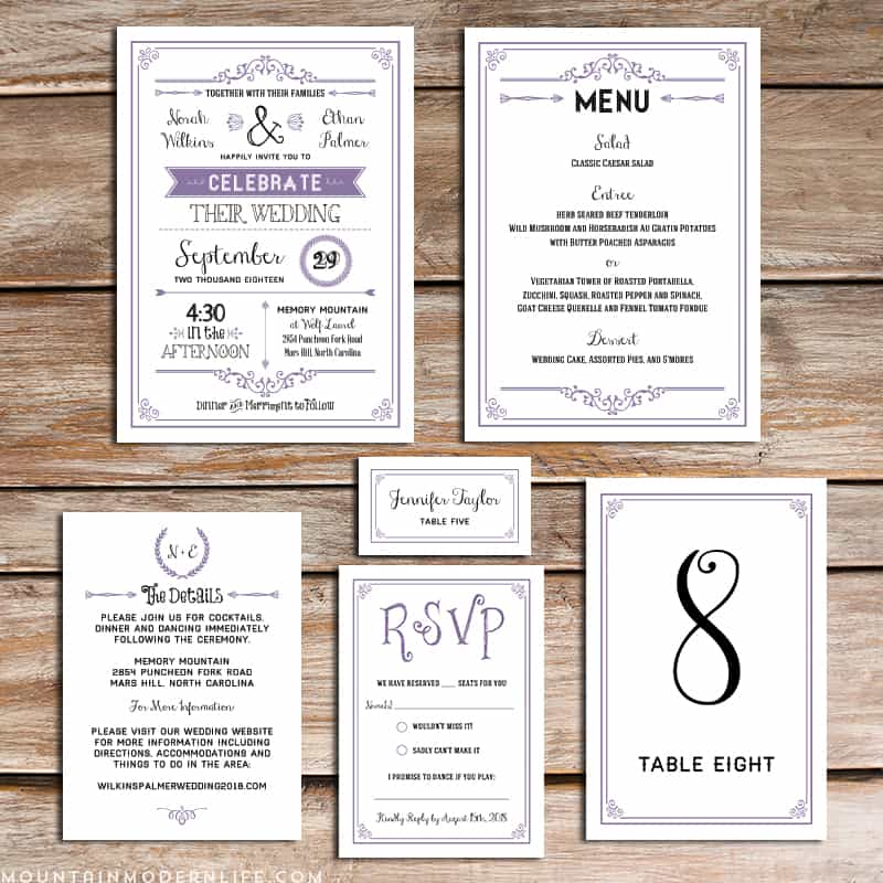Printable lavender diy wedding invitation set for Wedding invitation maker program