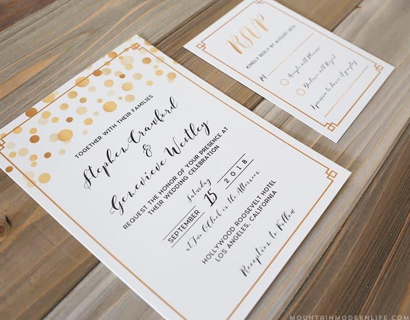 Modern Gold DIY wedding invitation set