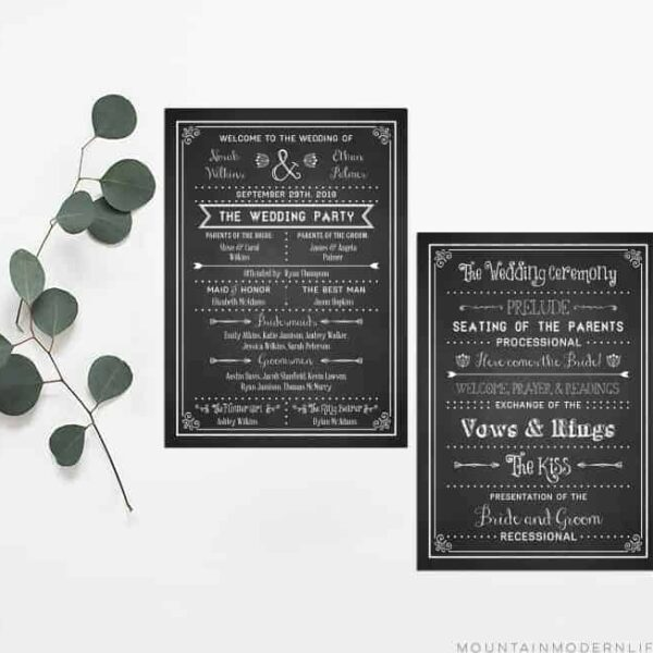 Printable DIY Wedding Program | MountainModernLife.com