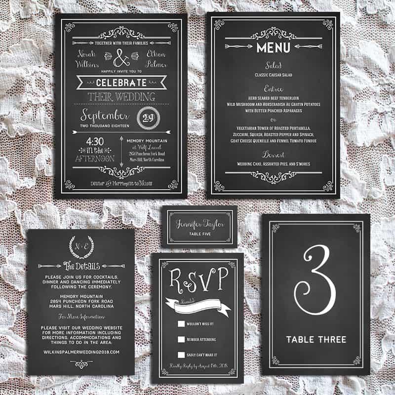 Printable DIY Chalkboard Wedding Invitation Set | MountainModernLife.com