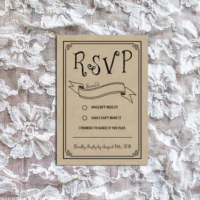 vintage rustic diy rsvp card. Black Bedroom Furniture Sets. Home Design Ideas