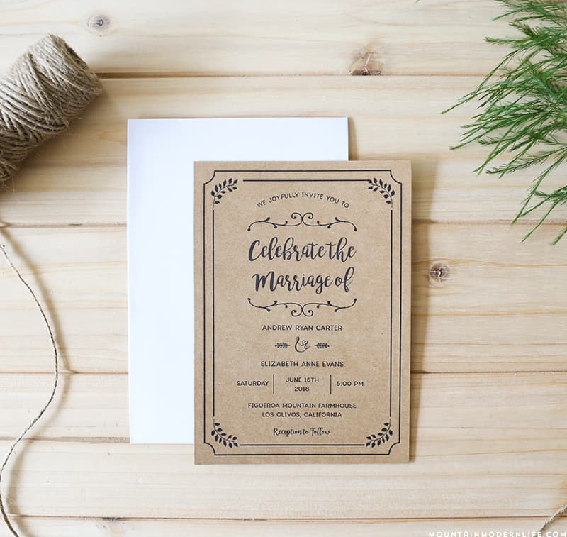 Planning a rustic-inspired wedding? Save money by customizing this printable DIY wedding invitation set yourself, which includes the editable invitation, RSVP, inserts and table numbers! MountainModernLife.com