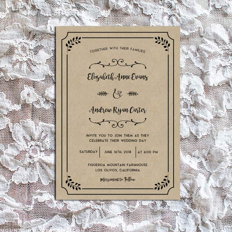 whimsical rustic diy wedding invitation set. Black Bedroom Furniture Sets. Home Design Ideas