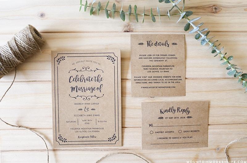 Rustic Wedding Invitation Sets: Whimsical Rustic DIY Wedding Invitation Set