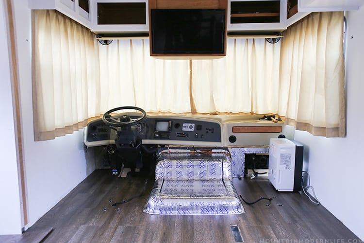 Looking for ways to update the RV engine access cover? Check out how we made this custom RV doghouse cover for our 2008 Tiffin Allegro Open Road 32LA. | MountainModernLife.com