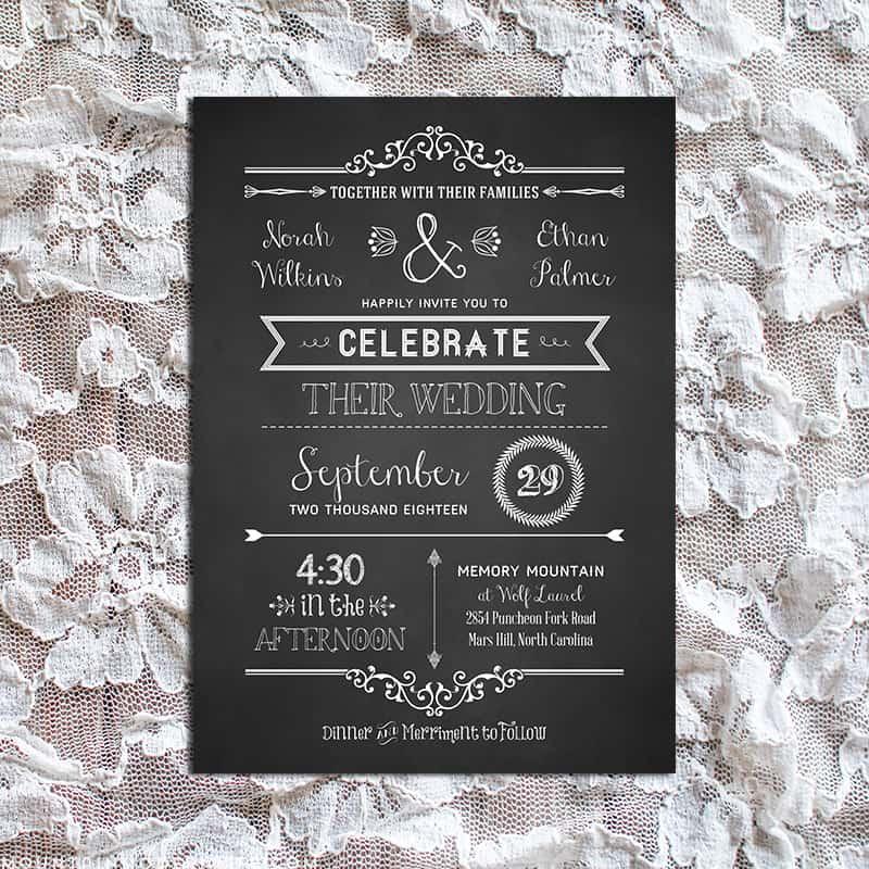 Chalkboard Wedding Invitation Template: Chalkboard DIY Wedding Invitation Set