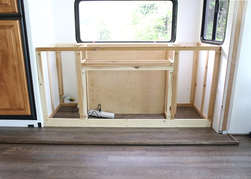 We are in week 4 of the One Room Challenge and are sharing the our custom RV Media Cabinet Progress | MountainModernLife.com