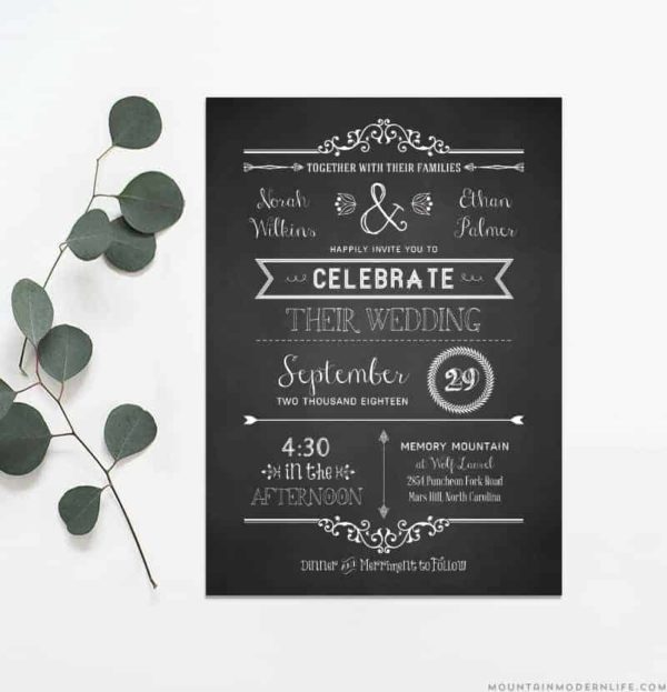 Printable Rustic Wedding Invitation | MountainModernLife.com
