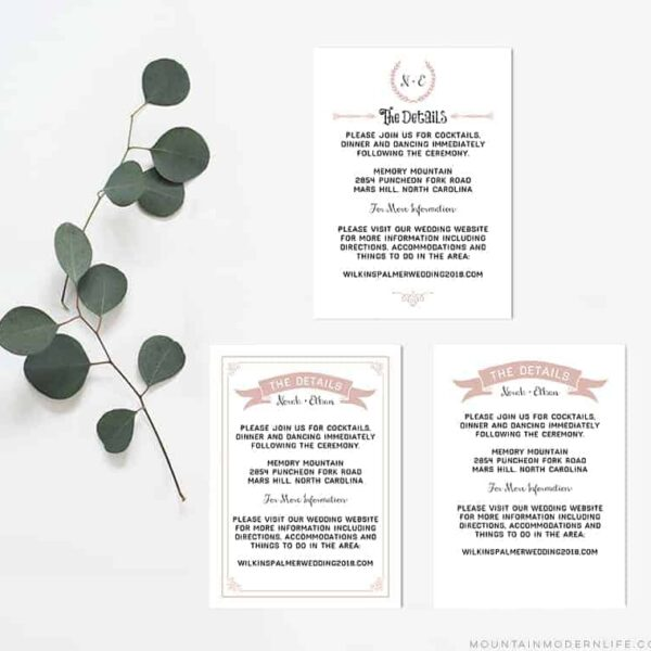 Printable Wedding Details Cards | MountainModernLife.com